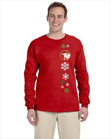Schwein rot Schneeflocke Langarm T-Shirt RED Unisex-Erwachsene, Medium SB3125-LS-rot M (T-shirt Schwein-erwachsenen)