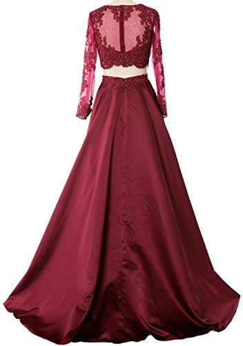 MACloth Women 2 Piece Long Sleeve Prom Dress 2017 Lace Satin Formal Evening Gown Himmelblau