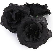 20 Stk. Schwarze Rose künstliche Seide Blume Party Hochzeit Haus Büro Garten Shop Dekor DIY