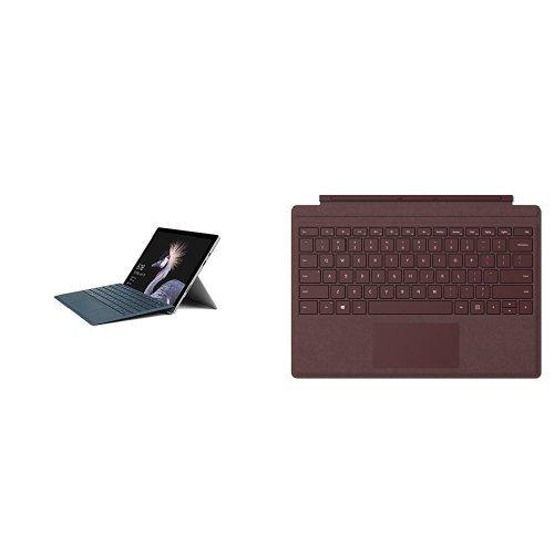 Set aus Microsoft Surface Pro (12,3 Zoll) (Intel Core i5 der 7. Gen., 4 GB RAM, 128 GB SSD) silber, ohne Stift + Surface Pro Type Cover bordeaux rot