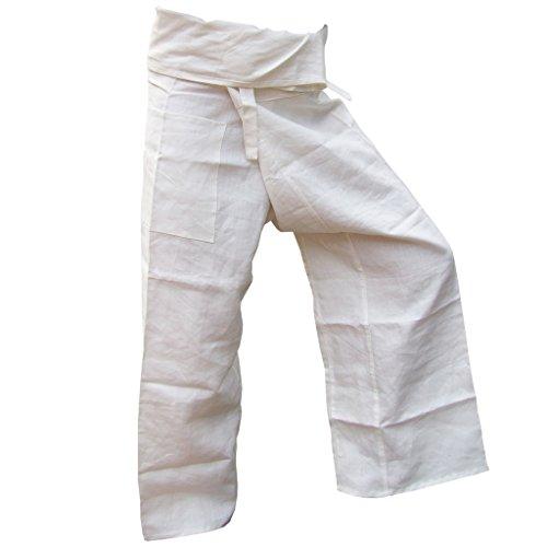 Panasiam® Fisher pants, 100% Hanf, White (Weiße Thai-yoga-hosen)
