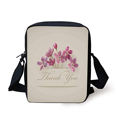 LULABE Cherry Blossoms,Spring Flowers Floral Thank You for Anniversary and Teachers Print,Ivory Light Pink Print Kids Crossbody Messenger Bag Purse - Cherry Flower Stand