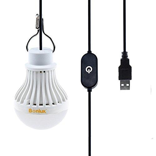 Bonlux USB Kabel Berührt Dimmbare LED Birne 5W Kühlweiß 6000k Tragbares Leuchtmittel Lampe für Taschenlampe Camping Beleuchtung zeltlampe Wandern Angeln Wandern Notlicht und Outdoor-Aktivitäten Usb-led-lampe