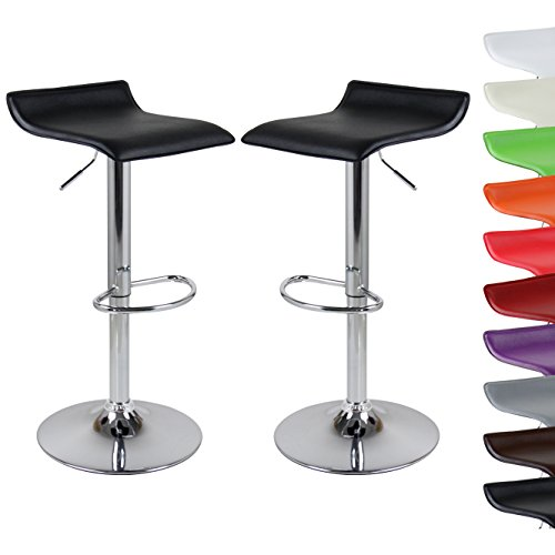 WOLTU BH11sz-a 2 x Design Barhocker Barstuhl Bar Hocker mit Griff Barstühle Kunstleder stufenlose Höhenverstellung verchromter Stahl Antirutschgummi Schwarz