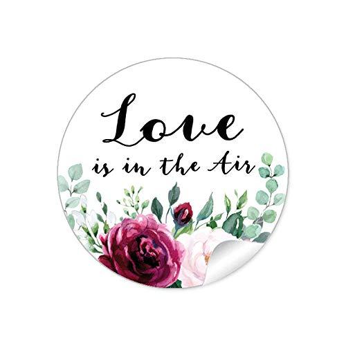 LOVE IS IN THE AIR • BOHO HIPPIE STYLE BLÜTEN ROSEN GRÜN ROT ROSA SCHWARZ • Gastgeschenke Seifenblasen Verpackungen zur Hochzeit Tischdeko Selbstgemachtes u.v.m.• 4cm rund matt ()