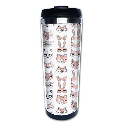Animal Masks Pink Dress Up Play Kids Cute Girls Multi Insulated Stainless Steel Travel Mug 14 oz Classic Lowball Tumbler with Flip Lid Nissan Thermos Travel Mug