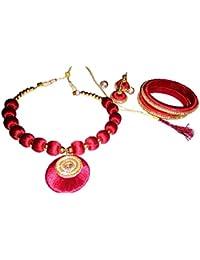 Pranav Store Red Silk Thread Jewellery Set For Women