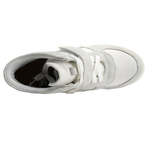 Rismart Damen Niedlich Keil Beiläufig Hakenschleife Wildleder Stoff Sneaker Schuhe Grau&Weiß