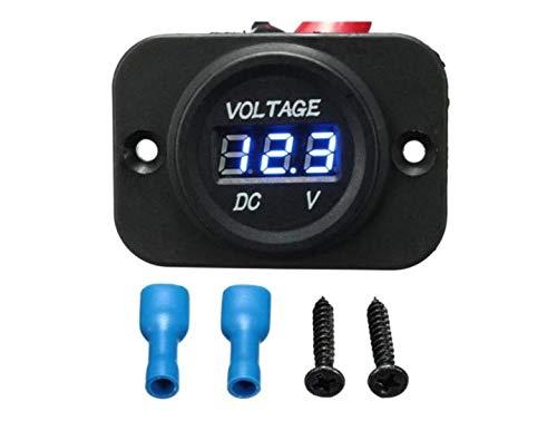 Forspero 12V-24V impermeabile LED volt Meterer misuratore di tensione contatore auto Boat moto marino - Blu