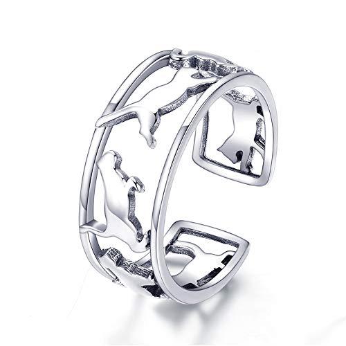 XJYA S925 Sterling Silber Einfacher Ring Netter Komet Öffnung einstellbar für ()