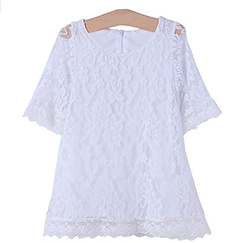 Robe Mieldorie moitié Princesse enfants filles manches Fleur dentelle (4-5 années, blanc)