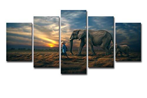 HDWALLART Impresiones De Lienzos Grandes 5 Piezas De Arte En Lienzo Elefantes...
