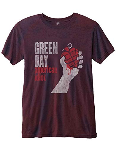 Green Day T Shirt American Idiot Vintage Nue offiziell Herren Rot 2-tone Burnout -