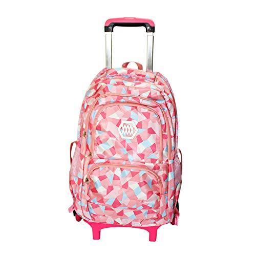 Mit Rädern Trolley Tasche (Hzjundasi Trolley Rucksack Studenten Tasche - mit Sechs Räder Treppensteigen - Stilvoll Rollen Rucksack Schultertasche für Mädchen Kids Kinder (Rosa))