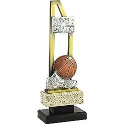 Art-Trophies TP484 Trofeo Deportivo Basket Doble Barra, Dorado, 30 cm