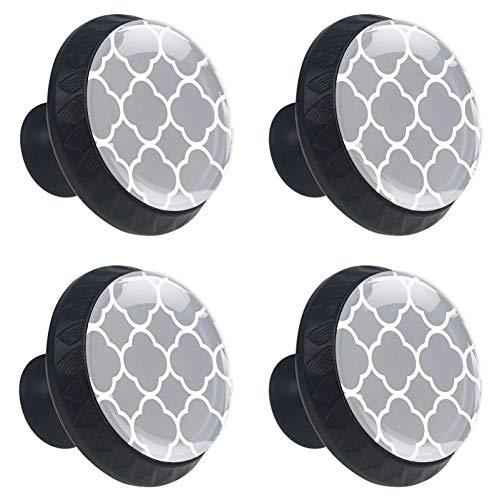 Möbelknöpfe, rund, Ankermuster, Grau, 4 Stück, ABS, Color2, 1.38x1.10IN (Grau Glas-möbelknöpfe)