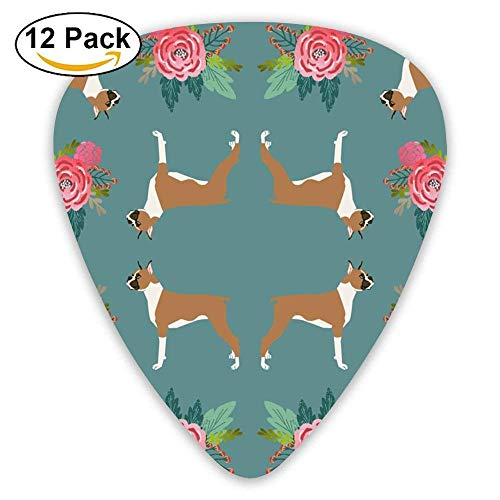 Boxer With Flowers,Florals, Pet Dog Print Guitar Picks For Electric Guitar 12 Pack - Floral Boxer