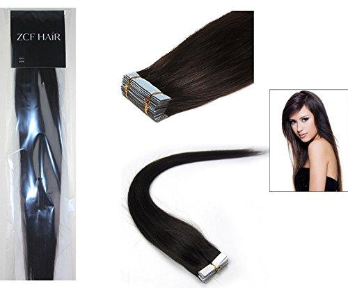 Style 40,6 cm 100% cheveux humains véritables Bandes de Cheveux Humains Extensions cheveux raides Couleur 1B Noir avec marron 30 g Beauté Design Salon