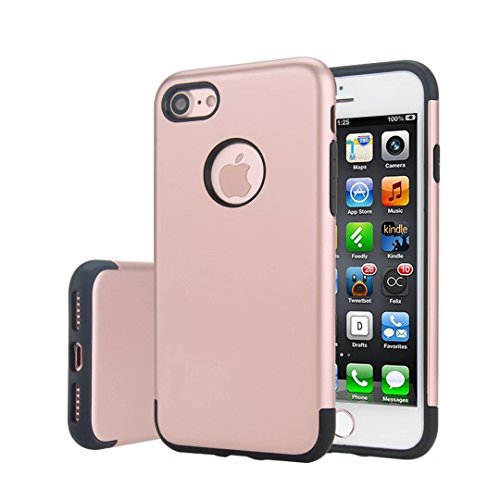 MOONCASE iPhone 7 Hülle Hybrid Dual Layer TPU +PC Handyhülle Rugged Armor Defender Case Anti-scratch Tasche Schutzhülle für iPhone 7 4.7 Inch Rose Gold Rose Gold