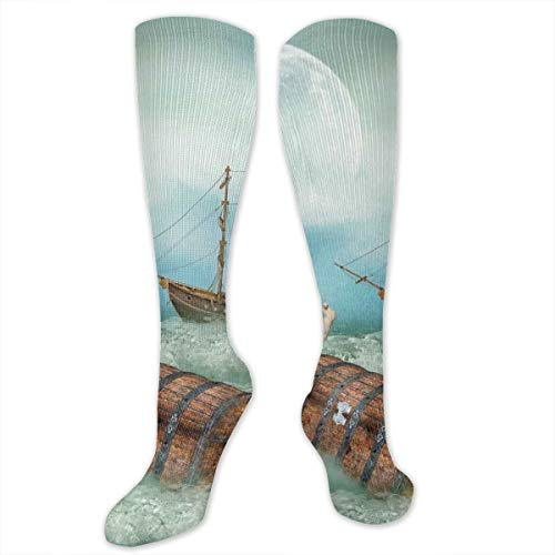Unisex Highly Elastic Comfortable Knee High Length Tube Socks,Antique Old Trunk In Ocean Waves With Magic Bird Pirate Boat Picture,Compression Socks Boost Stamina,QueenFull - Pirate Low Cut