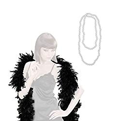 com-four® Retro-Kostüme 20er Jahre Damen-Verkleidung und Verschiedene Erweiterungen - Charleston Look - Vintage Flapper-Fransen Pailletten-Kleid, Federboa, Perlen-Kette, Perücken (02-teilig - Set03)