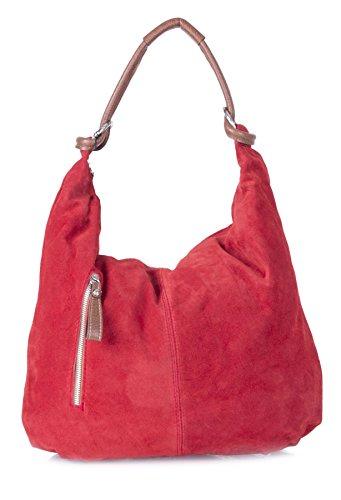 Big Handbag Shop - Borsa a spalla da donna, grande, in vera pelle scamosciata italiana Red (LL686)