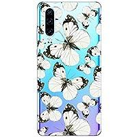 Oihxse Funda Conpatible con Realme 6 Silicona Transparente Dibujos Mariposa Cover Suave TPU Gel Cristal Clear Delgada Anti- Arañazos Protección Carcasa Case,Negro