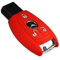 E-Senior Funda de silicona para llave de coche Mercedes Benz Clase C CL CLK S G G M S SL SLK, rojo