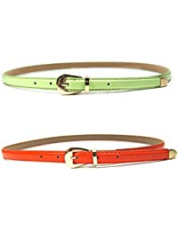 Ya Jin 2PCS Women Thin Leather Belt Retro Pin Buckle for Jeans Shorts Solid Color Black+Red