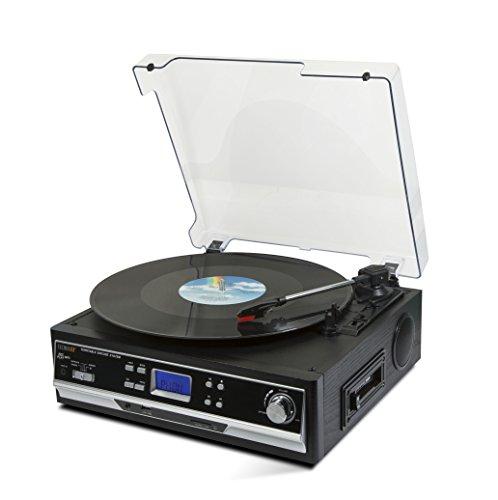 Oferta de Technaxx TX-22+ - Tocadiscos (Tocadiscos de tracción por Correa, Semiautomático, Negro, 33,45,78 RPM, Giratorio, Cartucho de cerámica estéreo)