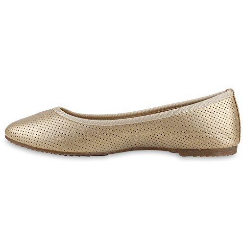 Klassische Damen Ballerinas   Flats Leder-Optik Lack   Metallic Schuhe Glitzer Schleifen   Ballerina Schuhe Übergrößen Gold Gold