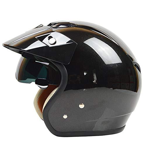 TKYZYY Casco per Moto retrò in Stile Rivestito Scooter Helmet Casco da Moto Cruiser Casco Leggero Scooter Auto elettrica, 54-61cm