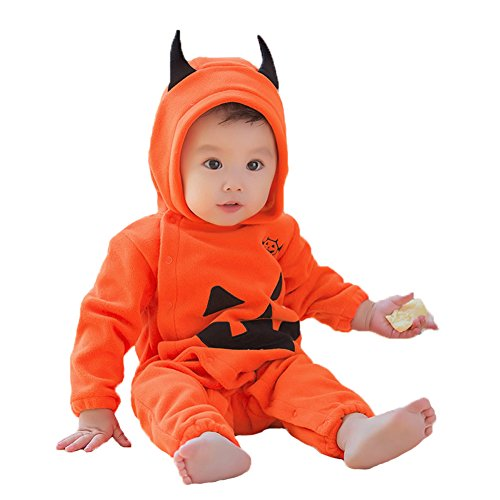 Neugeborenen Vampir Kostüme (Uleade Baby Jungen Mädchen Overall Kapuzenpullover Spielanzug Outfit Langarm Bodysuit Kleidung Halloween Nettes Kürbis Baby Fantasie)