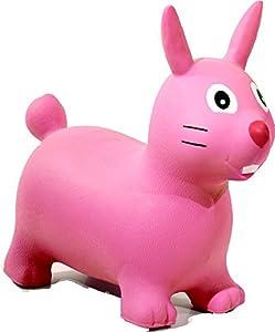 HAPPY GIAMPY hg506-Conejo Hinchable Montar para Niños, Color Rosa