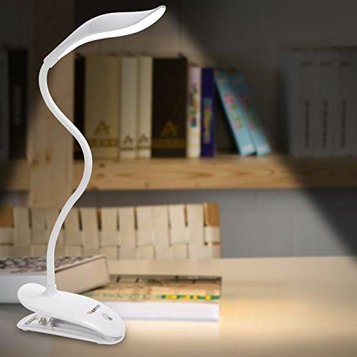 WERTIOO Leselampe Tragbare LED Klemmleuchte Schreibtisch Lampe, Folding USB Leselicht360 Grad mit Clip Schwanenhals 20 LED 2W Flexibel Faltbare Tischlampe Licht (White)