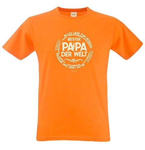 Vater-Tag Herren-Oberteil Geschenke Fun-T-Shirt Print-Motiv: Bester Papa der Welt Farbe: orange Orange