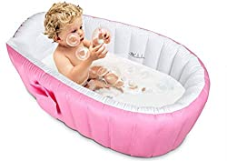 Alytimes Inflatable Baby Bathtub, Kid Infant Toddler Infant Newborn Inflatable Foldable Shower Pool (Blue) (Pink)