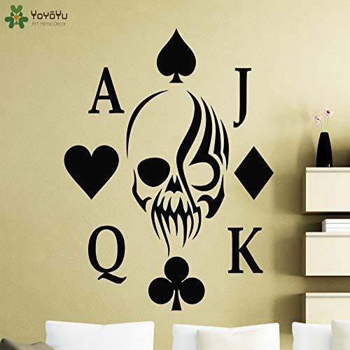 jiushizq Poker Wall Sticker Interior Skull Card Vinile Design Decalcomania da Muro Impermeabile Club Sign Decor Art Creative Mural Patterns Rosa 57x71cm