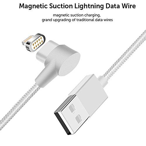First2savvv argento Cavo Lightning Magnetico Certificato da Apple Mfi per Apple iPhone X 8 7 iPad 2.4A Veloce Ricarica e Sincronizzazione Intrecciato di Nylon, 3.3ft, Cavo di Qualità Premium CT-iphone 2 x argento cavo dati