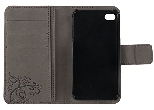 Gukas Design Veritable Cuir Etui Pour Apple iPhone SE / 5 5G 5S Housse Coque Premium Case Cover Flip Protecteur Portefeuille Genuine Leather Wallet (Noir) Marron Fonce