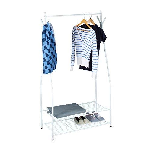 Relaxdays Kleiderständer mit Schuhablage SANDRA, Metall, breit, Garderobenständer mit Kleiderstange, 2 Ablagen auch für Stiefel, HBT: 162 x 90 x 40 cm, weiß