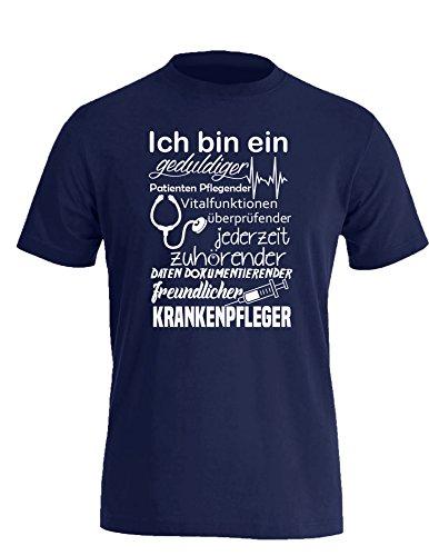 Ich bin ein geduldiger, Patienten Pflegender, Vitalfunktion überprüfender... freundlicher Krankenpfleger - Perfektes Geschenk für Pfleger - Herren Rundhals T-Shirt Navy/Weiss