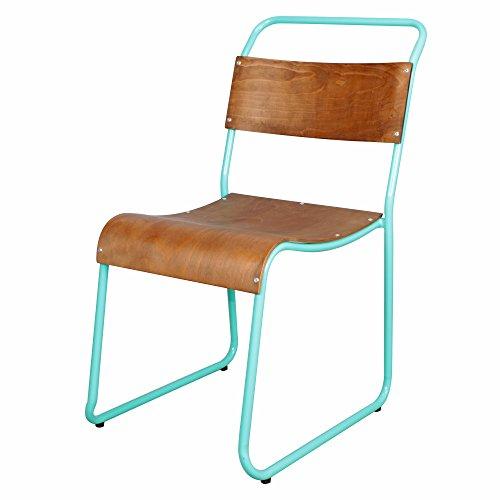 Decoración Vintage Helsinky - Silla, estructura en metal, asiento de madera, 44 x 57 x 83 cm, color verde agua