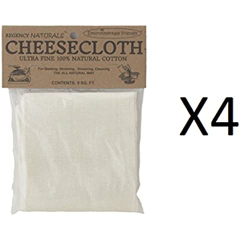 Regency 100% Cotton Ultra Fine Cheesecloth 9 Sq Ft Harold Import RW450N (4-Pack)