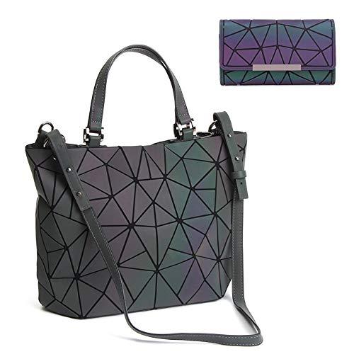 Chenrry Geometrische Leuchtende Geldbörse und Handtaschen für Damen Holographische Tasche Top-Griff mit Reißverschluss Schließung Messenger Schulranzen Taschen NO.1P -