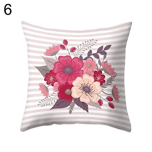 Goodtimes28 bedruckter weicher Kissenbezug mit romantischem Blumendruck, Kissenbezug für das Büro und Zuhause, einfach zu waschen, für Sofa, Taille, Bett, Heimdekoration, 6# -