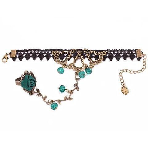 Yazilind Bijoux Noble Direction Rose Vert Lolita cristal en metal noir dentelle Bracelets esclaves avec anneau