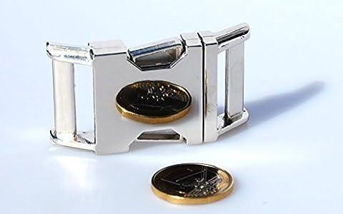 Steckschnalle Steckschließer gebogen aus poliertem Metall. Für 30mm Gurtband (1 Stück)