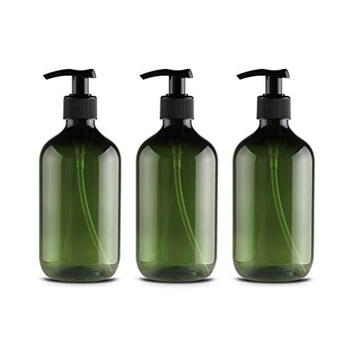 3 Stück 500ml Leeren Grün Plastikflaschen Lotionsflaschen Lotionspender mit Pumpe für ätherisches Öl Flüssigseife Shampoo auf der Arbeitsplatte von Bad und Küche Pumpe Drücken Flasche -