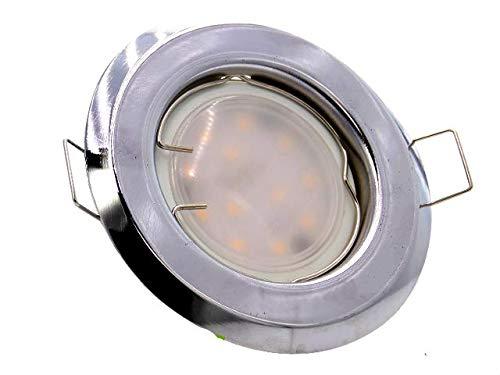 Einbaustrahler, SET: LED und Halogen Einbauspot Spot Rund Metall Chrom + MR16 4 WATT LED LAMPE WARMWEISS + MR16 Fassung